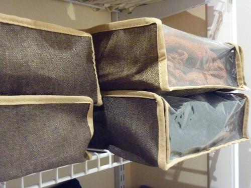Sweater bags on shelf