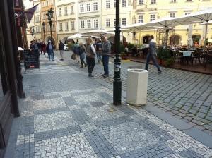 Cobblestone street and sidewalk