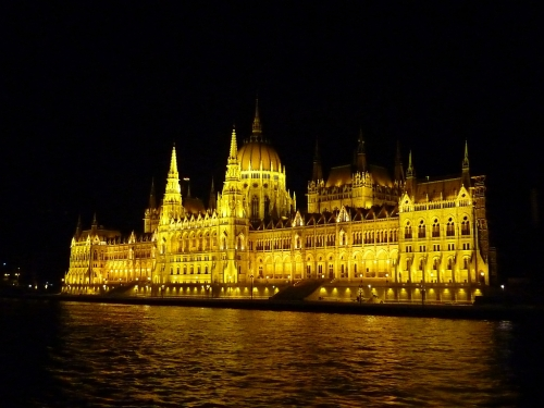 Budapest parliament building from the Danube at night