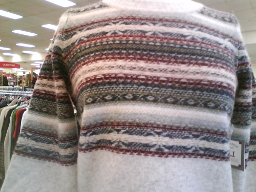 Sweater with wrong side out